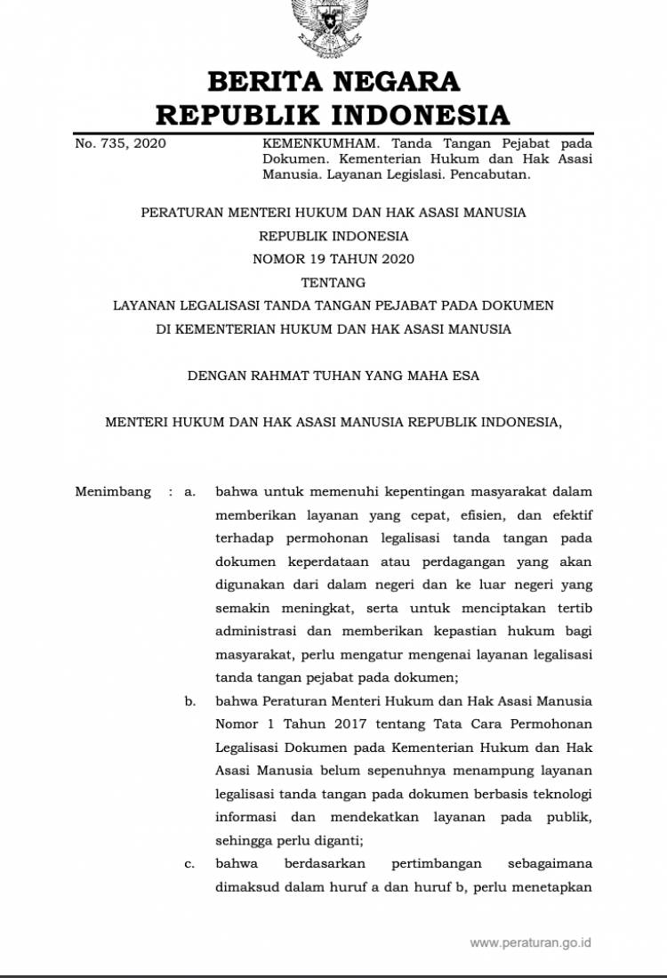 Peraturan Menteri Hukum Dan Hak Asasi Manusia Nomor 19 Tahun 2020 Tentang Layanan Legalisasi Tanda Tangan Pejabat Pada Dokumen Di Kementerian Hukum Dan Hak Asasi Manusia Ikatan Notaris Indonesia